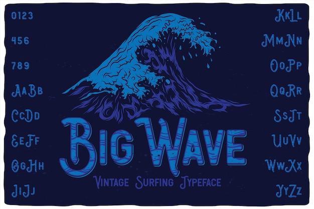 Big wave vintage label lettertype Premium Vector