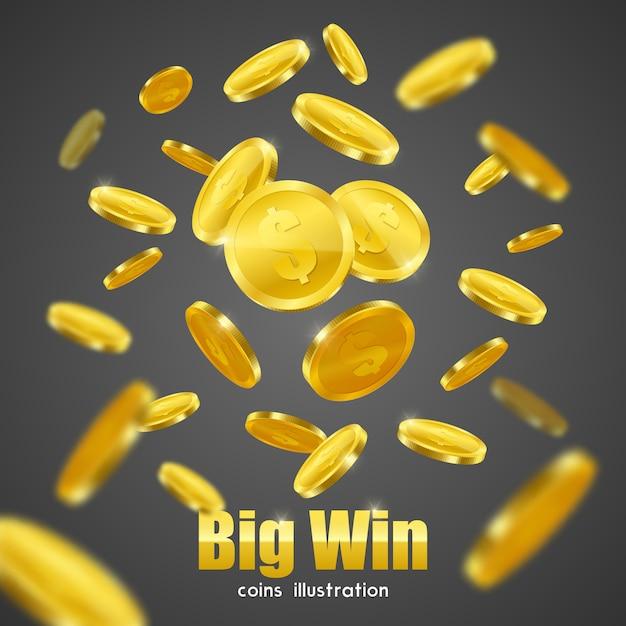 Big win gouden munten advertentie achtergrond poster Gratis Vector