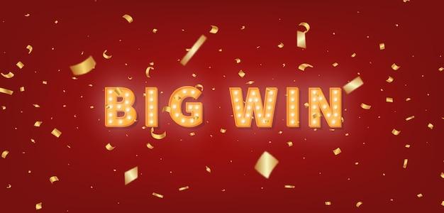 Big win gouden selectiekadertekst. 3d-gloeilamptekst en confetti voor gefeliciteerd winnaar. Premium Vector
