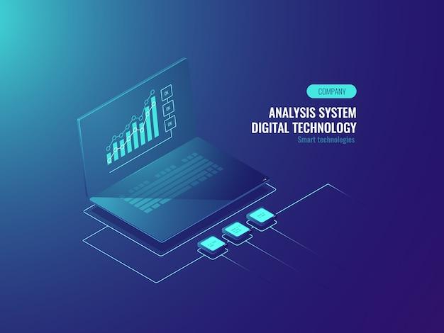 Bigdata-rapport, gegevensstatistieken op scherm van laptop, bedrijfs- en gegevensgrafieken Gratis Vector