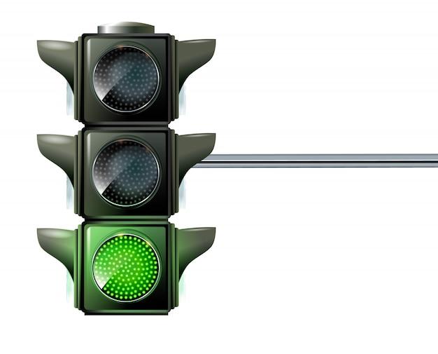 Bij een verkeerslicht lichten de drie kleuren tegelijkertijd rood, geel en groen op. Premium Vector