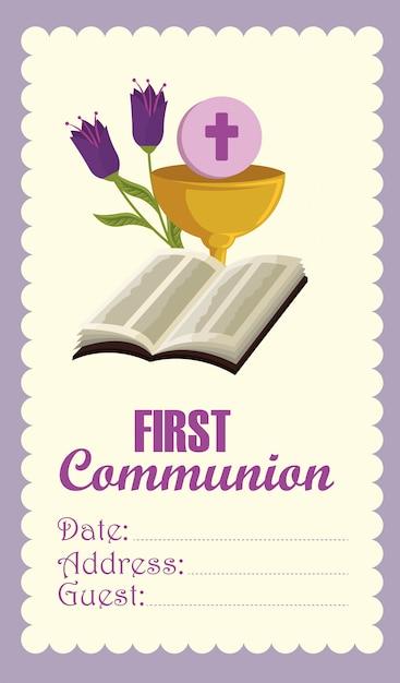Bijbel met kelk en heilige gastheerkaart voor katholieke gebeurtenis Gratis Vector