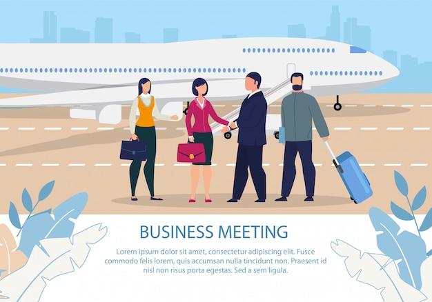 Bijeenkomst na zakenreis cartoon tekst poster Premium Vector