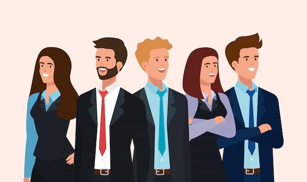 Bijeenkomst van mensen uit het bedrijfsleven avatar karakter Gratis Vector