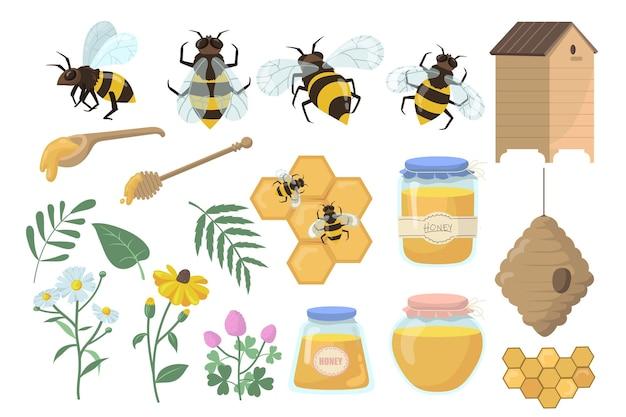 Bijen en honing set. bloemen, bijenkorf en honingraten, pot, pot en beer geïsoleerd op een witte achtergrond. Gratis Vector