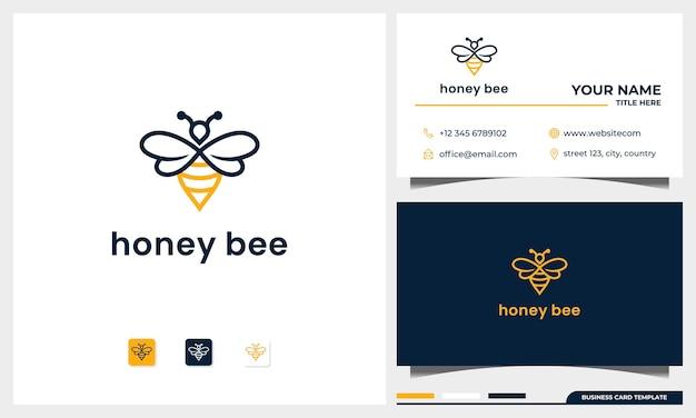 Bijen honing creatief pictogram symbool logo met lijn kunststijl en sjabloon voor visitekaartjes Premium Vector