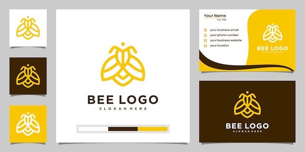 Bijen honing creatieve pictogram symbool logo lijn kunststijl lineaire logo. logo-ontwerp, pictogram en visitekaartje Premium Vector
