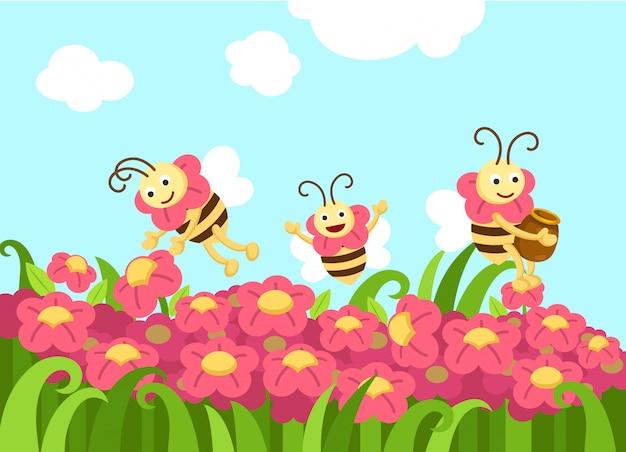 Bijen op zoek naar voedsel vector Premium Vector