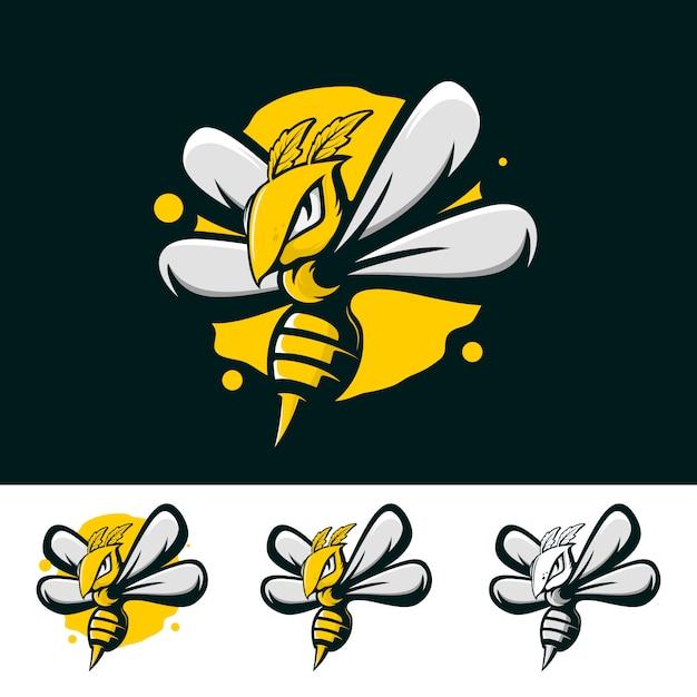 Bijen sterk logo Premium Vector