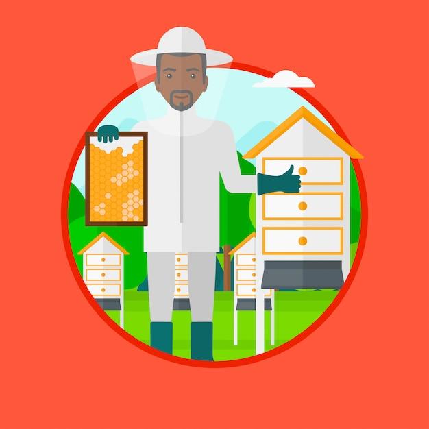 Bijenhouder bij bijenstal vectorillustratie. Premium Vector