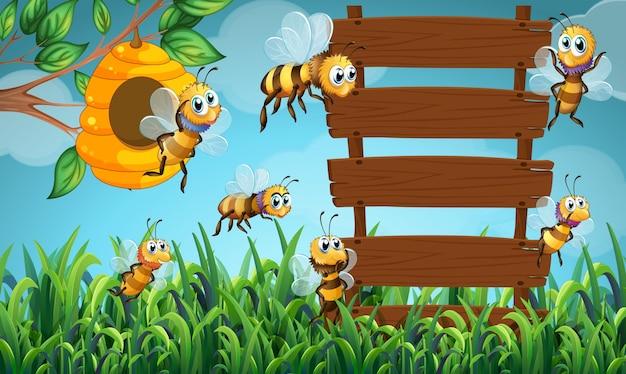 Teken Je Tuin : Bijenvlieg en houten teken in tuin vector premium download