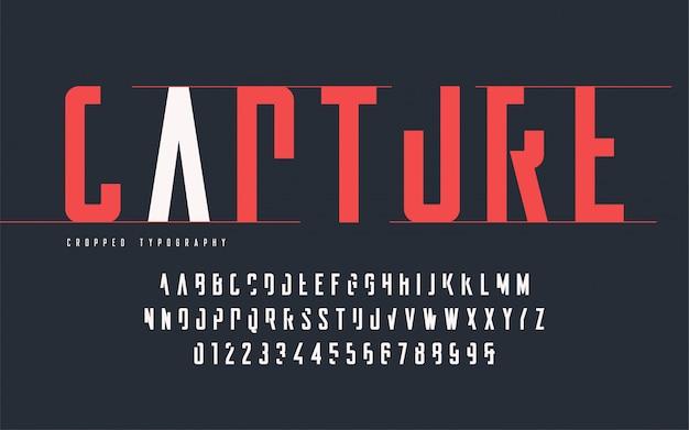 Bijgesneden typografie, set hoofdletters en cijfers, alfabet. Premium Vector