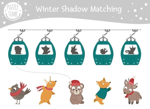 Bijpassende winterschaduwactiviteit voor kinderen met dieren in kabelbanen. Premium Vector
