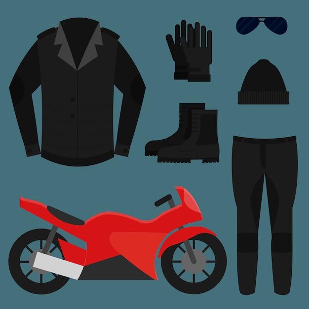 Biker kleding, afbeelding instellen Premium Vector