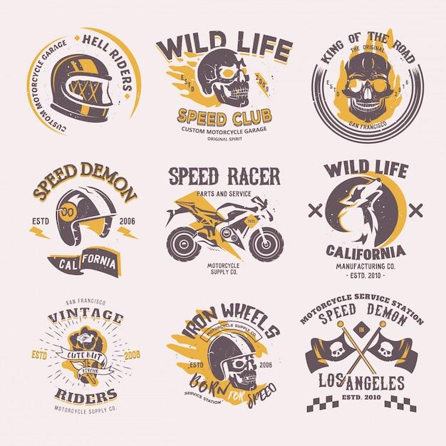 Biker logo rijder motorfiets of fiets en snelheid motorrijder racer op logo motor embleem Premium Vector