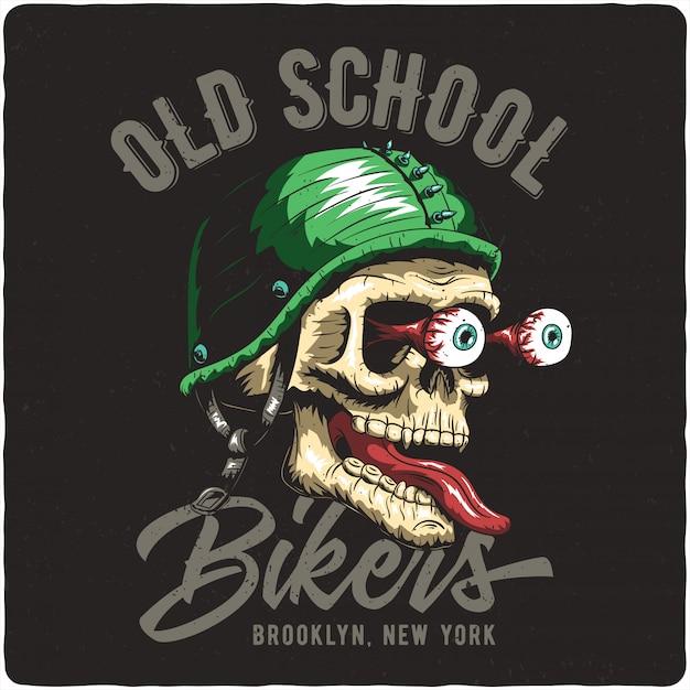 Biker's schedel Premium Vector