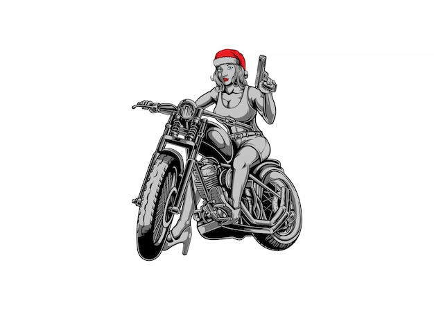 Biker santa meisje Premium Vector