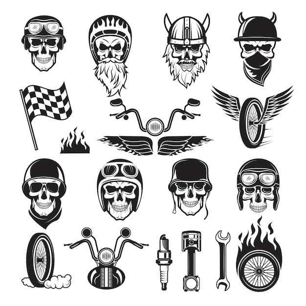 Biker set. schedel fiets vlaggen wiel vuur botten motor motorfiets vector iconen Premium Vector