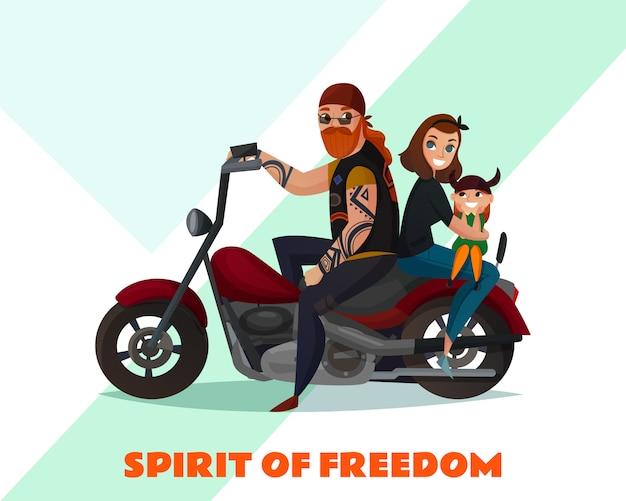 Bikers family cartoon afbeelding Gratis Vector