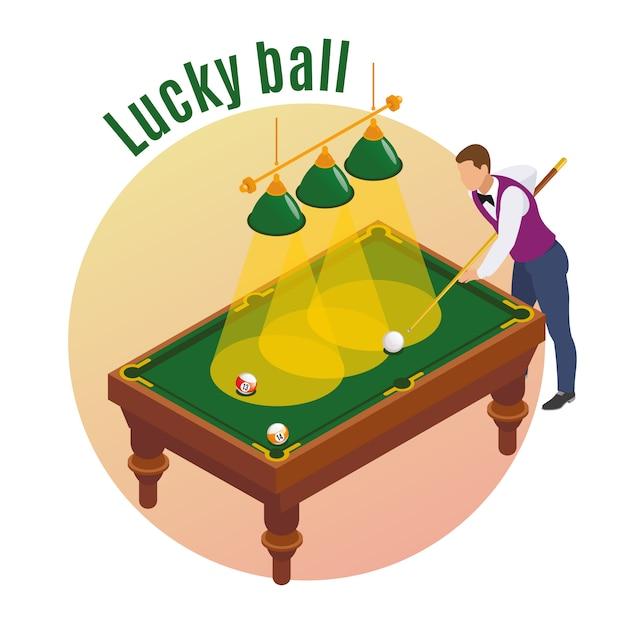 Biljart isometrische samenstelling met mannelijk spelerskarakter dat zijn stok streeft om gelukkige bal in zak te slaan Gratis Vector
