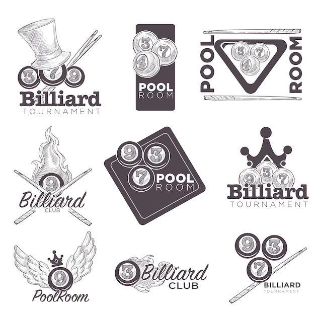 Biljart of poolroom logo retro schets voor kampioenschap Premium Vector