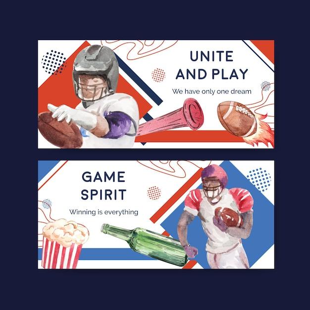 Billboard sjabloon met super kom sport conceptontwerp voor adverteren en marketing aquarel vectorillustratie. Gratis Vector