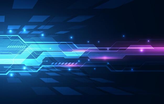 Binaire printplaat technologie van de toekomst, blauwe cyberveiligheid concept achtergrond, abstract hallo snelheid digitaal internet. Premium Vector