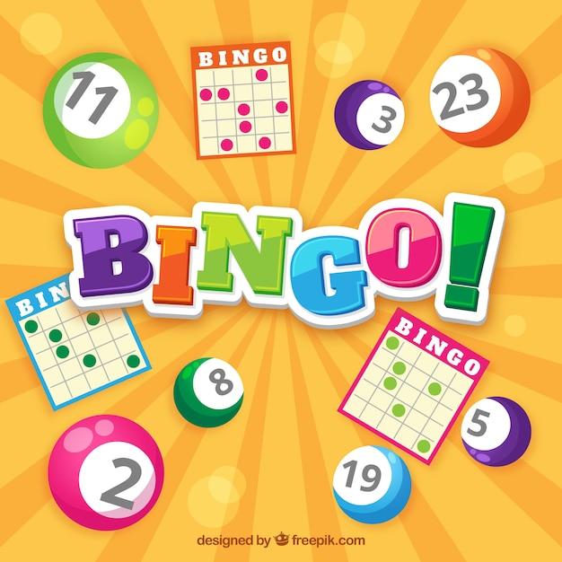 Bingo achtergrond met stembiljetten en gekleurde ballen Gratis Vector