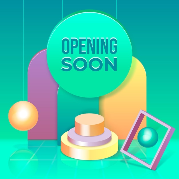 Binnenkort geopend met geometrische vormen Gratis Vector