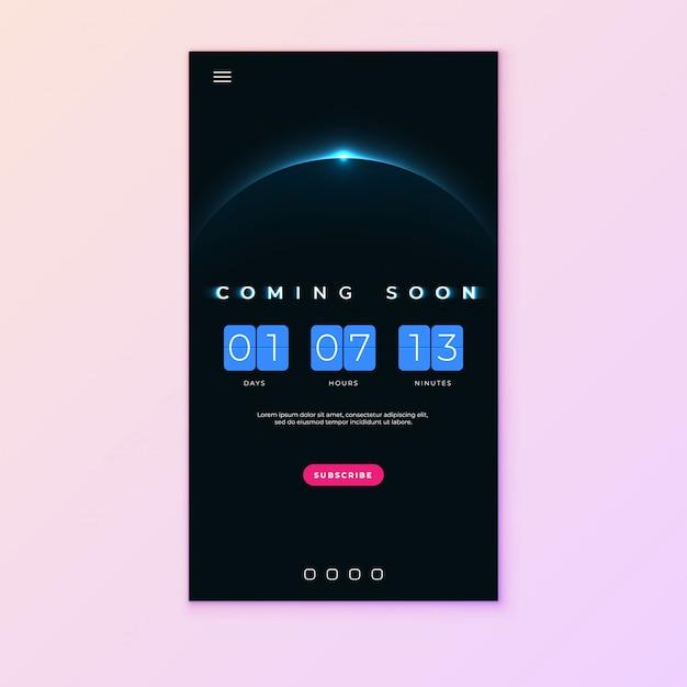 Binnenkort tekst op abstracte sunrise met flip countdown klok teller timer Premium Vector