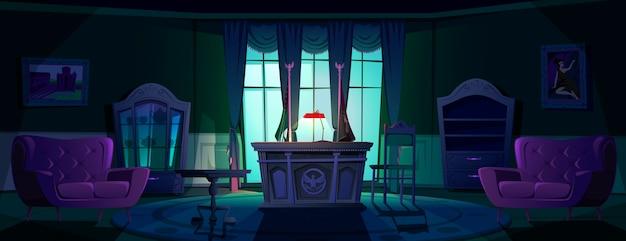 Binnenland van ovaal bureau in wit huis bij nacht Gratis Vector