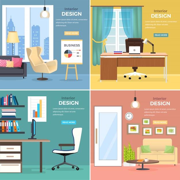 Binnenlands ontwerp van vier bureauruimtes met moderne meubels web vector banner. twee studies met houten tafels, comfortabele stoelen en computer, en twee kamers met banken, ronde salontafel en standaard Premium Vector