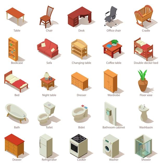Binnenlandse meubilair pictogrammen instellen. isometrische illustratie van 25 binnenlandse meubilair vectorpictogrammen voor web Premium Vector