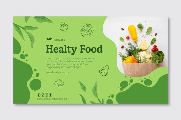Bio en gezond voedsel horizontale banner Premium Vector
