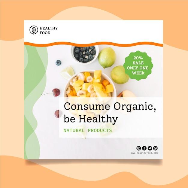 Bio en gezond voedsel kwadraat flyer-sjabloon Gratis Vector