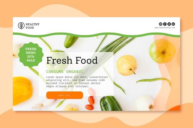 Bio en gezond voedsel sjabloon voor spandoek Gratis Vector