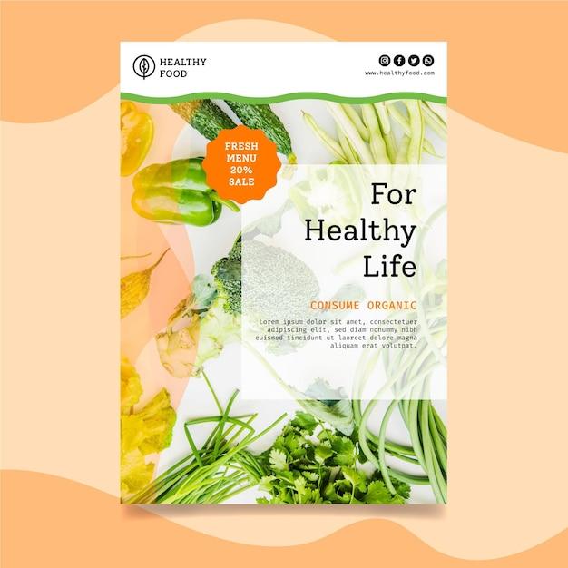 Bio en gezond voedsel verticale flyer-sjabloon Gratis Vector