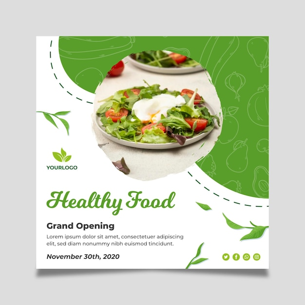 Bio en gezonde voeding vierkante flyer Gratis Vector
