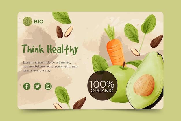 Bio en gezonde voedselbanner Gratis Vector