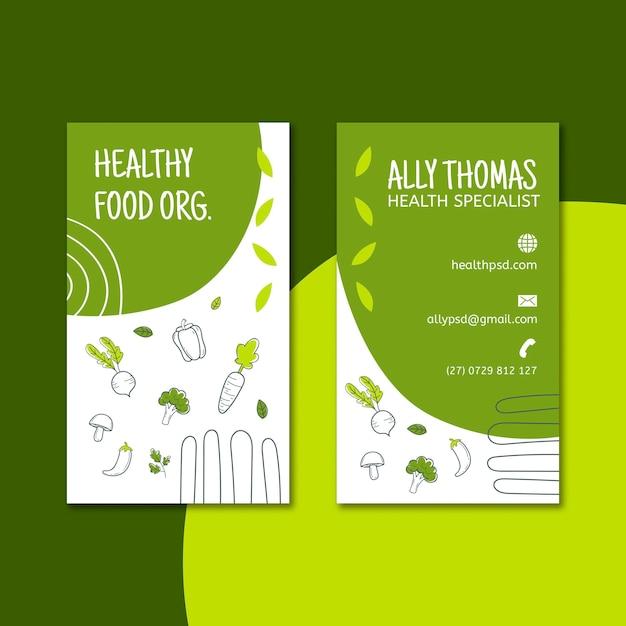 Bio & gezond voedsel dubbelzijdig visitekaartje Premium Vector
