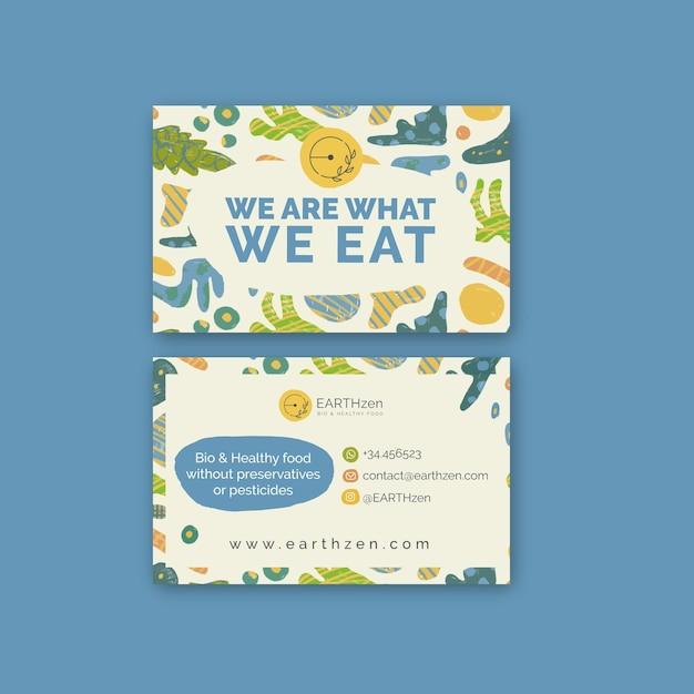 Bio & gezond voedsel horizontale visitekaartjesjabloon Premium Vector