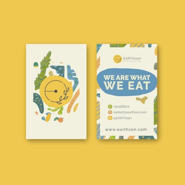 Bio & gezond voedsel verticale visitekaartjesjabloon Premium Vector