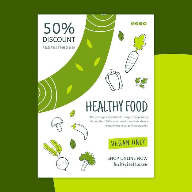 Bio & gezonde voeding flyer verticaal Gratis Vector