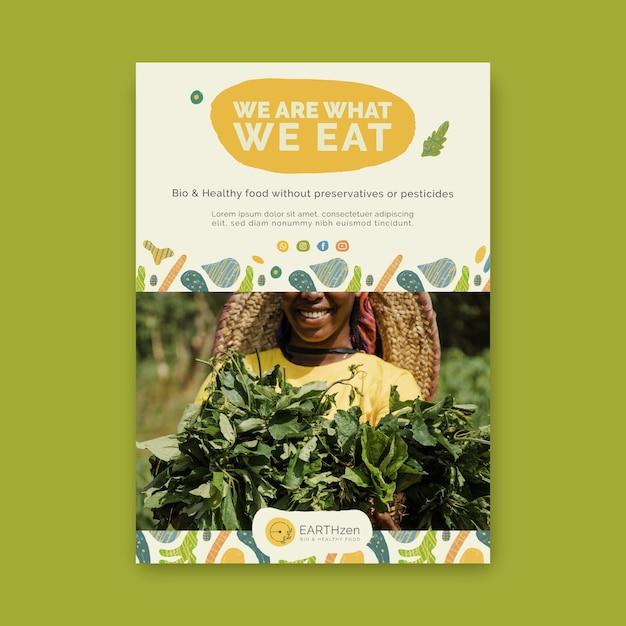Bio & gezonde voeding folder sjabloon Gratis Vector