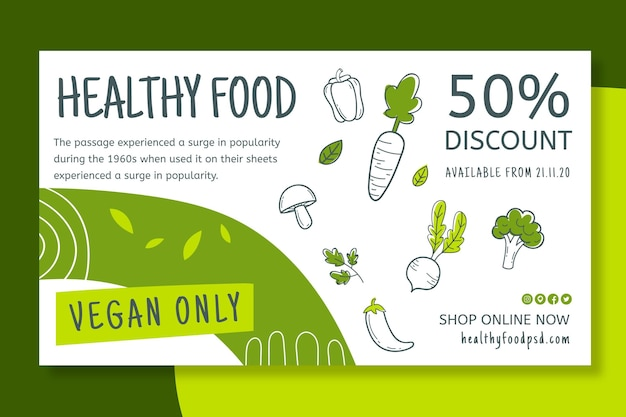 Bio & gezonde voedselbanner Gratis Vector