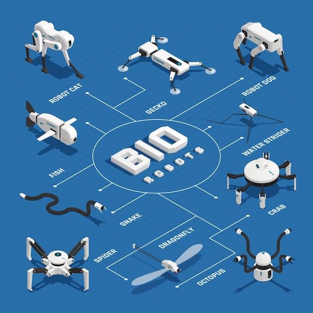 Bio-robots isometrisch stroomdiagram Gratis Vector