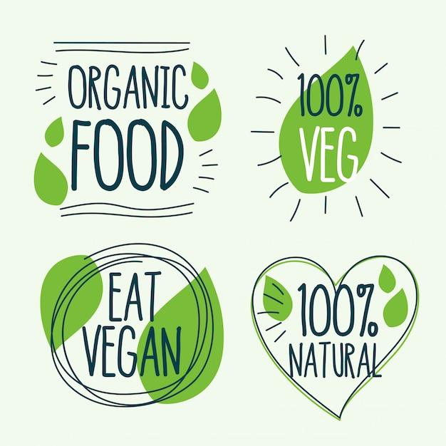 Biologisch en veganistisch voedsellogo Gratis Vector