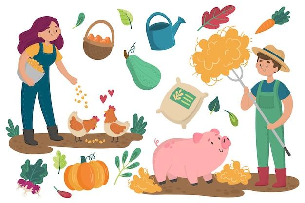Biologisch landbouwconcept met dieren en planten Gratis Vector