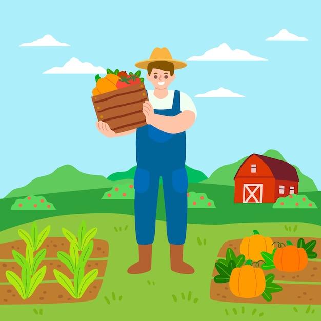 Biologisch landbouwconcept met groenten Gratis Vector