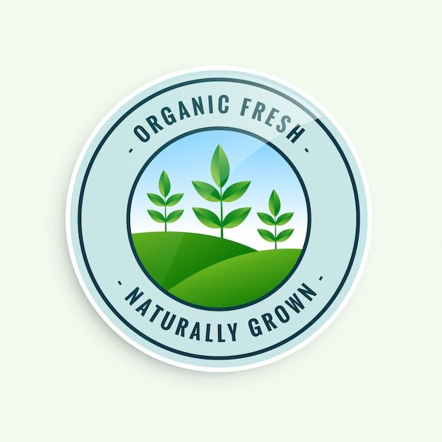 Biologisch vers natuurlijk gegroeid voedseletiket Gratis Vector